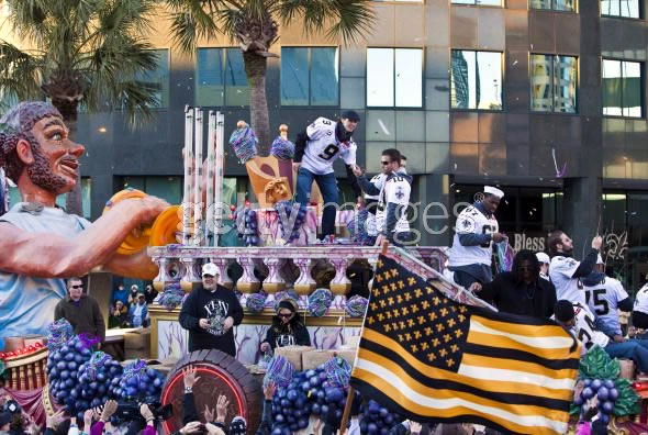 New Orleans Saints Flag at Superbowl parade