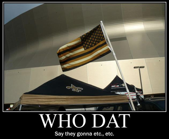 American Black and Gold Flag in front of the Louisiana Superdome. Picture was featured on WWL's Facebook Page